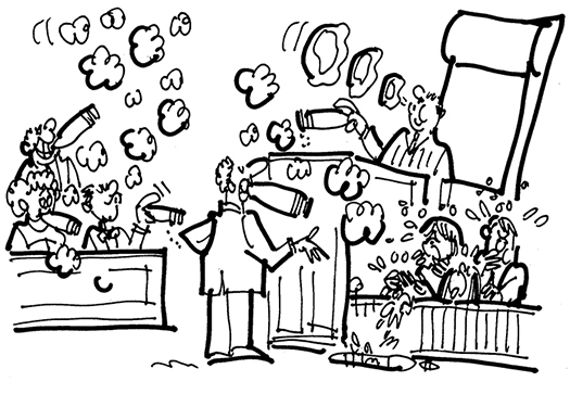 courtroom cartoon about a case where a couple claimed their children were sickened by the cigar smoking of the man in the next apartment