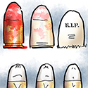 illustration inspired by Tucson shooting in which Congresswoman Gabrielle Giffords was wounded, showing bullets morphing into gravestones, familiar cycle associated with high-profile shootings