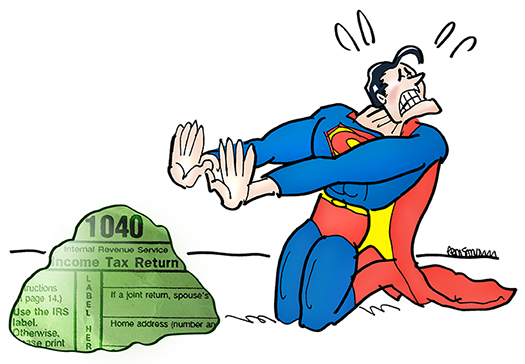 Superman cartoon character kneeling in front of Kryptonite rock covered with 1040 tax form text