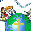 mission rosary campaign illustration with globe, cross, and crucifix for Holy Childhood Association which encourages school children to support Catholic foreign missions