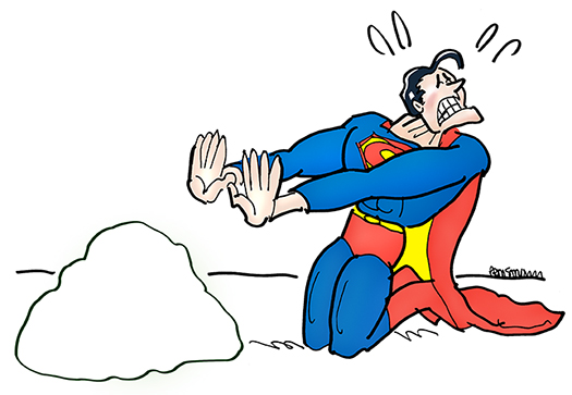 Superman cartoon character kneeling in front of a rock