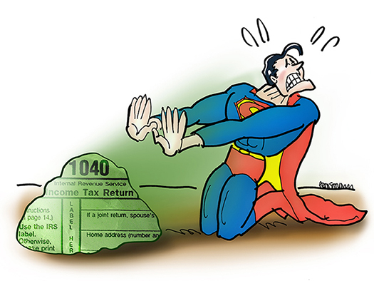 Superman cartoon character kneeling in front of rock covered with 1040 tax form text and being hit with deadly Kryptonite income tax rays