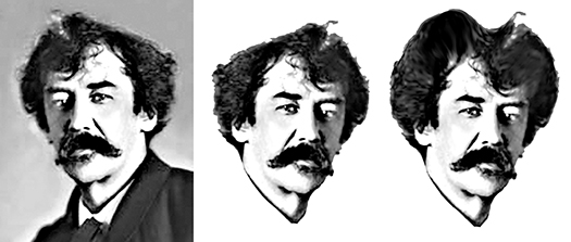 photo of famous American painter James Whistler being manipulated in Photoshop with Liquify tool