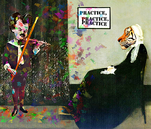 Whistler's Tiger Mother forcing young James Whistler to practice the violin and he's playing it with a paintbrush and splattering paint everywhere