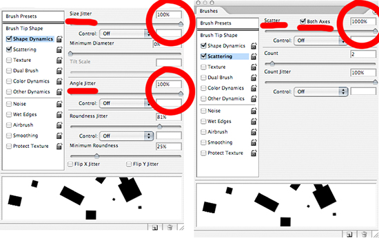 Photoshop dialogue boxes showing Shape Dynamics and Scattering settings for a brush to create confetti