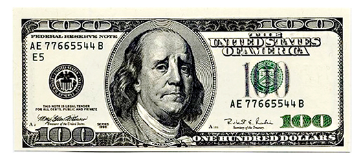 Hundred dollar bill with Ben Franklin made to look sad by manipulation with Photoshop's Liquify tool