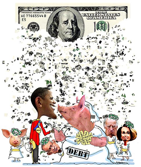 Royal Wedding spoof with hundred dollar bill becoming confetti falling on Obama and pig representing trillion dollar debt