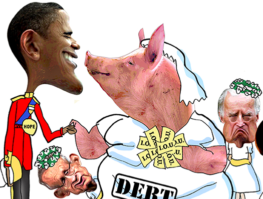 Close-up of Royal Wedding spoof with Obama marrying Debt Pig, and Harry Reid and Joe Biden as bridesmaids