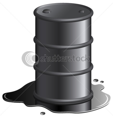stock illustration of oil drum in a puddle of spilt oil