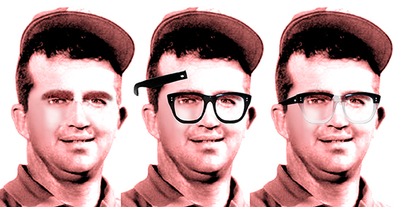 photo sequence showing how I was able to add a pair of eyeglasses in Photoshop to a photo of PGA golf professional Mason Rudolph
