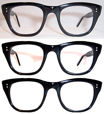photo sequence showing how I was able to extract the front of a pair of black thick-framed eyeglasses from a yellowish photo
