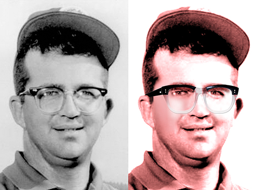 final compare of old B&W photo of golf pro Mason Rudolph to enhanced colorized photo with eye correction and replacement eyeglasses