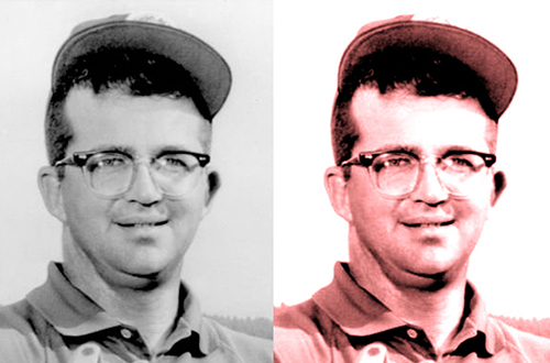 1960s era PGA Tour golf pro Mason Rudolph compare showing original B&W photo and sharpened colorized enhanced photo