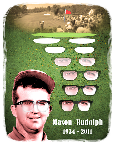 tribute to the late 1960s era PGA tour pro golfer Mason Rudolph who wore distinctive thick-framed glasses, illustration shows golf course sand traps morphing into glasses with Mason Rudolph's eyes