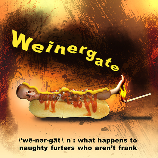 Weinergate illustration with Congressman Anthony Weiner depicted as a hot dog in a bun with a flaming match keeping his feet to the fire