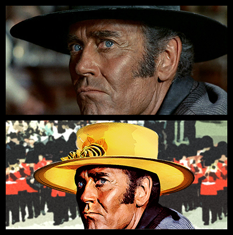 photo manipulation of Henry Fonda from Once Upon A Time In The West showing him wearing a woman's hat at the Royal Wedding