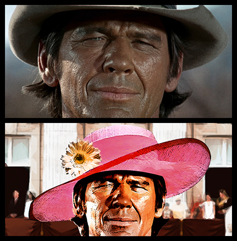 photo manipulation of Charles Bronson from Once Upon A Time In The West showing him wearing a woman's hat at the Royal Wedding