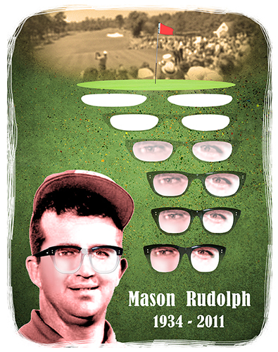 tribute to pro PGA golfer Mason Rudolph showing golf green sand traps morphing into his trademark thick-framed glasses with 1960s era golf tournament photo in background