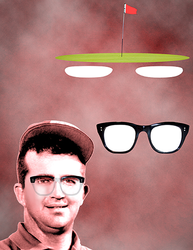 Mason Rudolph trubute illustration showing PGA golf professional, thick-framed glasses, and golf green and flag