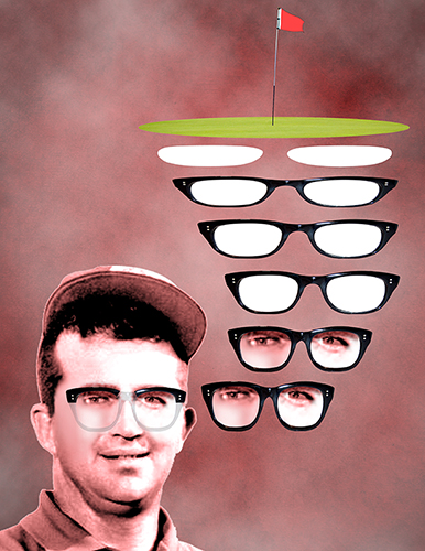 Mason Rudolph tribute illustration showing golf course sand traps morphing into thick-framed glasses with eyes