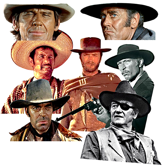 Italian spaghetti western gunfighters including Clint Eastwood, Lee Van Cleef, Eli Wallach, Jack Elam, and John Wayne