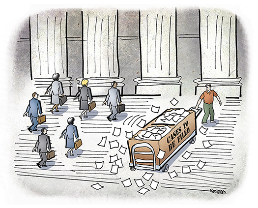 illustration for Massachusetts Lawyers Weekly showing a man pulling a huge crate of case files up steps of a courthouse prior to filing corresponding lawsuits hoping to make money from the lawsuits