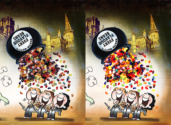 comparison showing grouped layers brightening effect in bertie botts beans harry potter tribute illustration