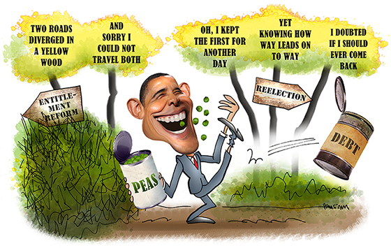 President Obama kicking can representing federal debt down the road in hopes of winning reelection rather than try to enact entitlement reform with Robert Frost poem in background