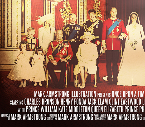 Sergio Leone movie poster parody Once Upon A Time At Westminster Cathedral showing spaghetti western gunslingers wearing wedding bonnets at Prince William-Kate Middleton royal wedding, closeup view of movie credits at bottom of poster