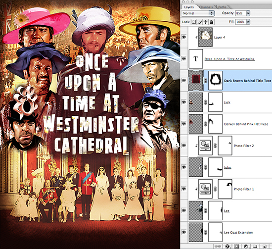 Sergio Leone movie poster parody Once Upon A Time At Westminster Cathedral showing spaghetti western gunslingers wearing wedding bonnets at Prince William-Kate Middleton royal wedding