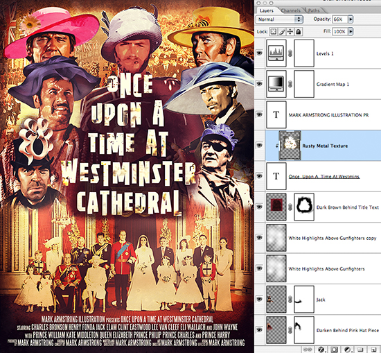 Sergio Leone movie poster parody Once Upon A Time At Westminster Cathedral showing spaghetti western gunslingers wearing wedding bonnets at Prince William-Kate Middleton royal wedding, with movie credits added at bottom using SteelTongs font