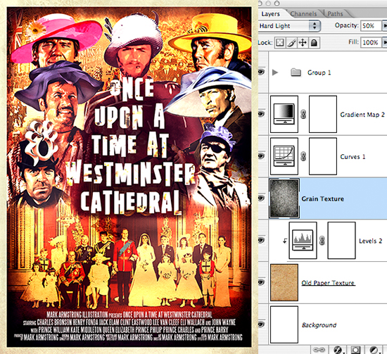Sergio Leone movie poster parody Once Upon A Time At Westminster Cathedral showing spaghetti western gunslingers wearing wedding bonnets at Prince William-Kate Middleton royal wedding, with border added to poster