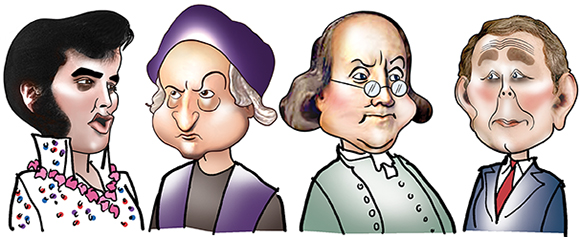 caricatures of Elvis Presley, Christopher Columbus, Benjamin Franklin, and George W. Bush, done for the cover of an American History study guide
