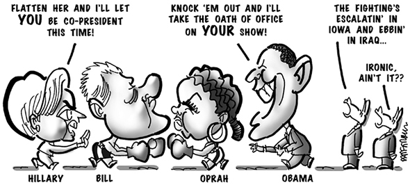 political cartoon for congress daily about hillary clinton and obama fighting for the 2008 democratic presidential nomination using bill clinton and oprah