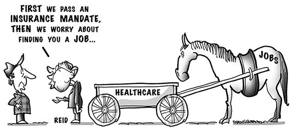 political cartoon for congress daily about how Harry Reid and Democrats put healthcare mandate before creation of jobs
