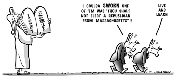 political cartoon for congress daily about Republican scott brown's surprising win to fill Ted Kennedy's old Massachusetts Senate seat