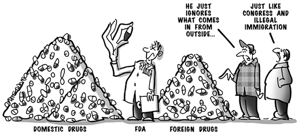 political cartoon for congress daily about the federal drug administration and their approach to imported drugs