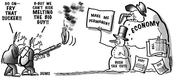 political cartoon for congress daily about democrats wanting to eliminate bush tax cuts but fearing the effect on the economy