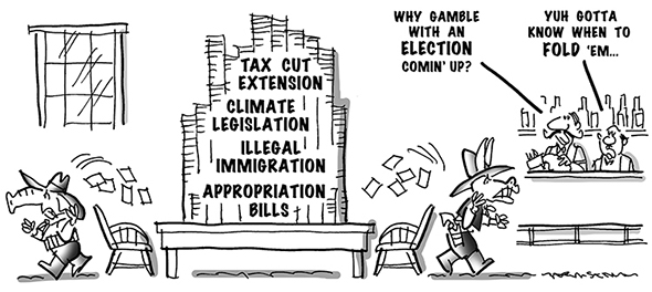 political cartoon for congress daily about both Republicans and Democrats being reluctant to address major issues prior to midterm elections