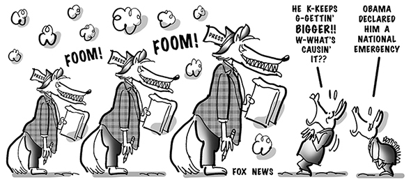 political cartoon for congress daily about obama demonizing the conservative fox news channel