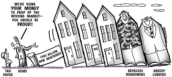political cartoon for congress daily about federal stimulus program in response to mortgage and housing crisis caused by greed and bad loans