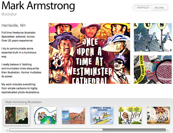 Mark Armstrong Illustration portfolio at Krop.com showing 10 image thumbnails and short bio