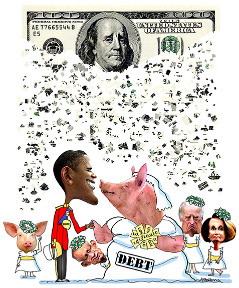 parody of royal wedding showing President Obama as Prince William marrying pig representing national debt with Joe Biden, Nancy Pelosi, Harry Reid as bridesmaids and money confetti