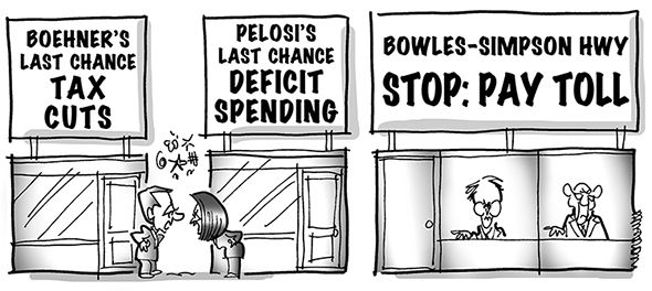 political cartoon for congress daily about Republicans and Democrats bickering over tax increases and spending cuts with federal debt commission saying both are needed