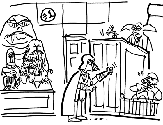Darth Vader as lawyer choking Stormtrooper witness with Yoda as judge and jury made up of Jabba the Hut, C-3PO, R2-D2, Chewbacca, and other Star Wars aliens and characters