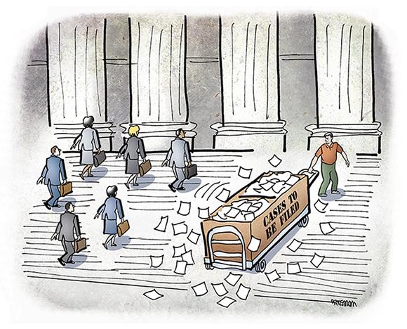 massachusetts lawyers magazine illustration showing serial filer pulling large basket of cases to be filed up courthouse steps with lawyers carrying briefcases walking alongside