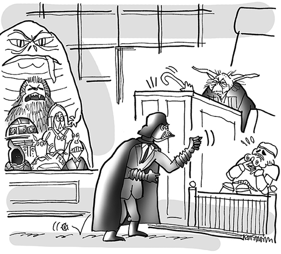 cartoon for legal magazine about George Lucas lawsuit, featuring Darth Vader, Jabba, Chewbacca, Yoda, and other Star Wars characters