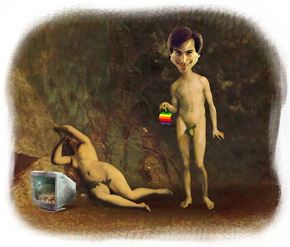 Steve Jobs tribute showing him with Apple in Garden of Eden with Eve lying next to old broken PC monitor displaying Bill Gates' face