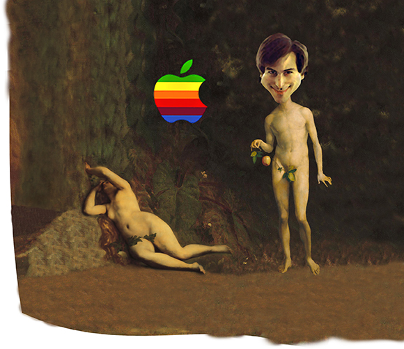 Steve Jobs Adam figure pasted into Garden of Eden scene, followed by pasting in old Mac apple logo