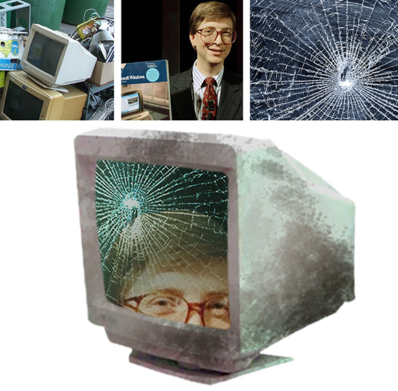 old pc computer monitor, young Bill Gates, and cracked glass photos combined to create dirty old computer monitor displaying Bill Gates face on cracked glass screen